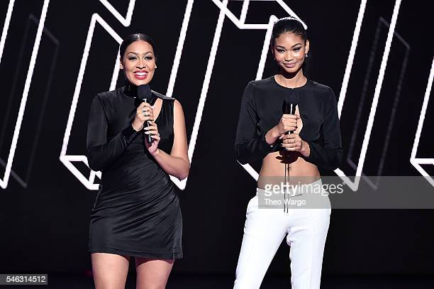 La La Anthony and Chanel Iman speak onstage during the VH1 Hip Hop Honors All Hail The Queens at David Geffen Hall on July 11 2016 in New York City