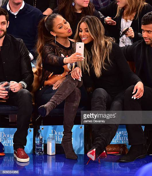 La La Anthony and Ciara attend the Washington Wizards vs New York Knicks game at Madison Square Garden on February 9 2016 in New York City