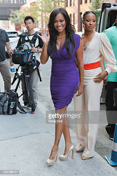 La La Anthony and Savannah Brinson arrive at the Alice Olivia Spring 2012 presentation during Mercedes Benz Fashion Week at Highline Stages on...