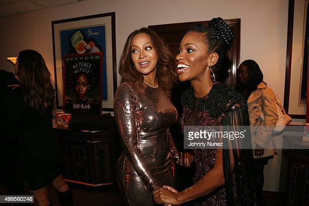 La La Anthony and Teyonah Parris attend the 'CHIRAQ' New York Premiere at Ziegfeld Theater on December 1 in New York City