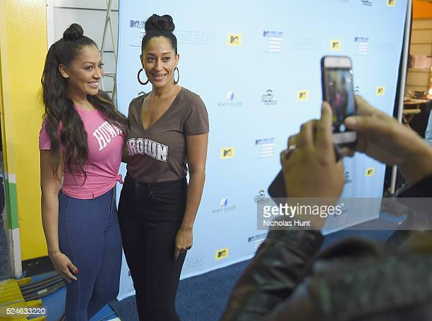La La Anthony and Tracee Ellis Ross backstage during the 3rd Annual College Signing Day at the Harlem Armory on April 26 2016 in New York City The...
