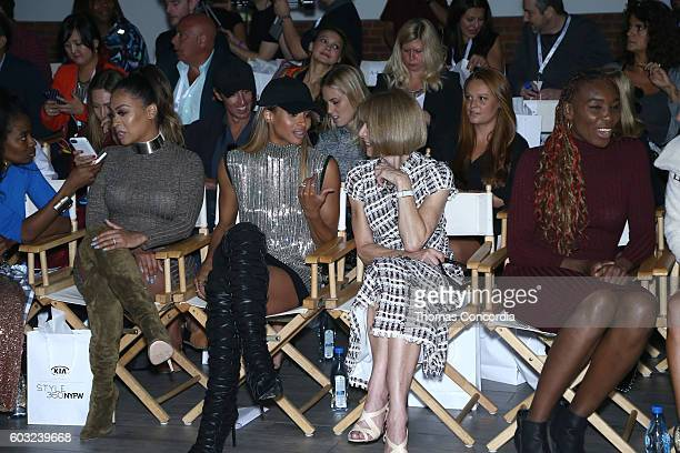 La La Anthony Ciara Anna Wintour and Venus Williams in the front row at HSN Presents Serena Williams Signature Statement Collection Fashion Show at...