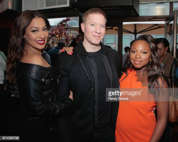 La La Anthony Joseph Sikora and Naturi Naughton pose during The STARZ Network Power Cocktail Media Event at Catch NYC on April 27 2017 in New York...