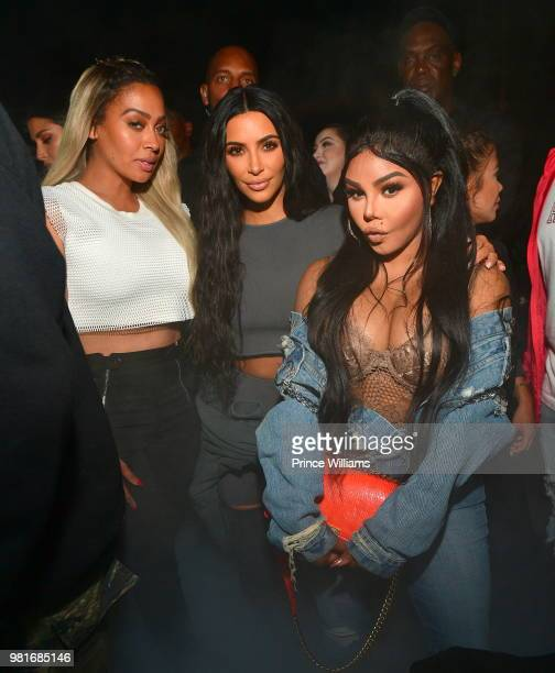 La La Anthony Kim Kardashian and Lil' Kim attend Teyana Taylor Album Release Party at Universal Studios Hollywood on June 21 2018 in Universal City...