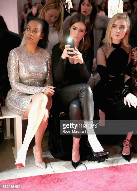 La La Anthony Mandy Moore and Skyler Samuels attend the Naeem Khan collection during New York Fashion Week The Shows at Gallery 2 Skylight Clarkson...