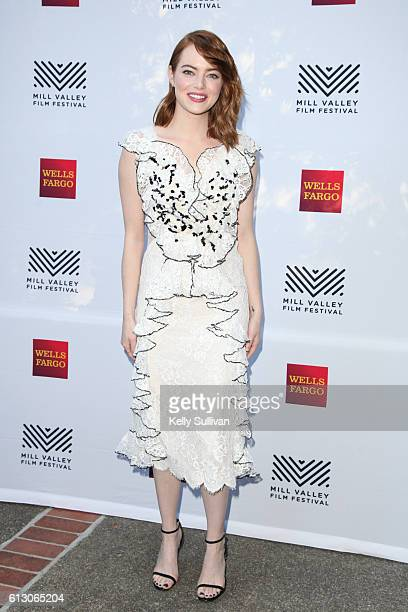 'La La Land' actress Emma Stone poses for photos on the Mill Valley Film Festival red carpet at The Outdoor Art Club on October 6 2016 in Mill Valley...