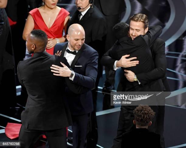 'La La Land' producer Fred Berger smiles with actors Mahershala Ali Jaden Piner Ashton Sanders and Ryan Gosling onstage following the error regarding...