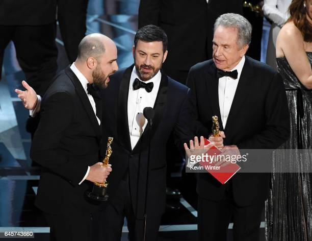 'La La Land' producer Jordan Horowitz announces actual Best Picture winner as 'Moonlight' after a presentation error with host Jimmy Kimmel and actor...