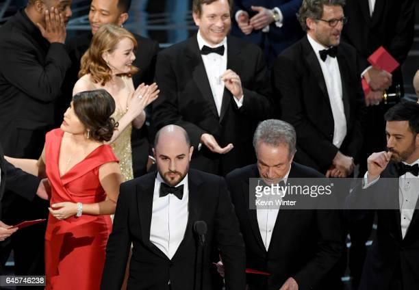 'La La Land' producer Jordan Horowitz announces actual Best Picture winner as 'Moonlight' after a presentation error with actor Warren Beatty and...