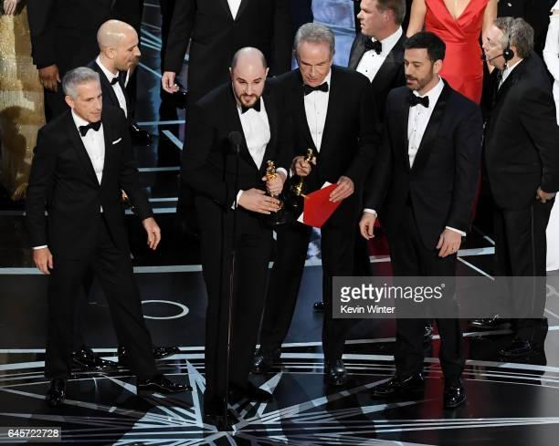 'La La Land' producer Jordan Horowitz announces the actual Best Picture winner as 'Moonlight' after a presentation error with actor Warren Beatty...