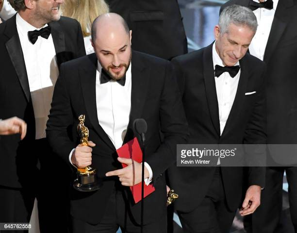 'La La Land' producers Marc Platt and Jordan Horowitz accept the Best Picture award due to a presentation error onstage during the 89th Annual...