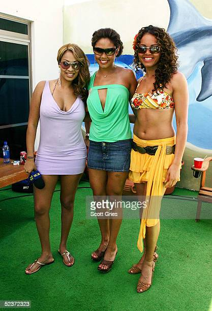 La La Vanessa Minnillo and Susie Castillo pose backstage during a taping for MTV Spring Break on the beach at The City nightclub March 10 2005 in...