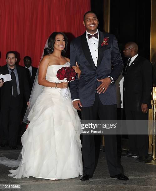 La La Vasquez and basketball player Carmelo Anthony attend their wedding at Cipriani 42nd Street on July 10 2010 in New York City