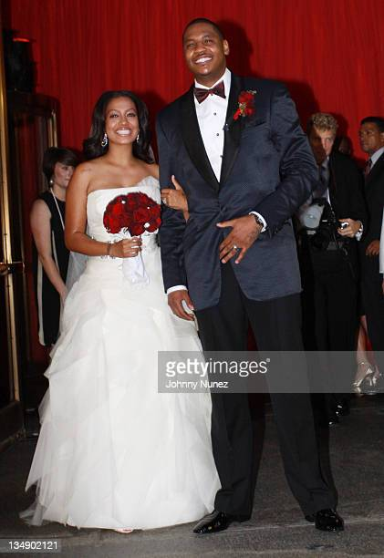 La La Vasquez and Carmelo Anthony attend La La Vasquez Carmelo Anthony's wedding at Cipriani 42nd Street on July 10 2010 in New York City