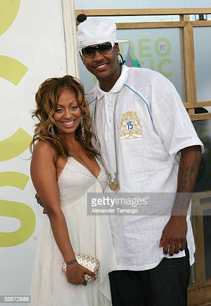 La La Vazquez and Denver Nuggets forward Carmelo Anthony arrive at the 2005 MTV Video Music Awards at the American Airlines Arena on August 28 2005...