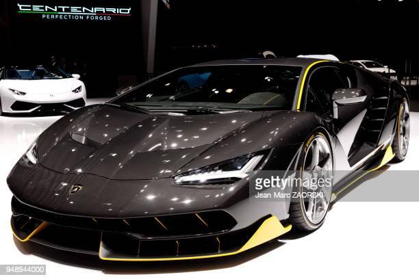 La Lamborghini Centenario LP 7704 présentée en première mondiale sur le stand Lamborghini au 86ème salon international de l'automobile à Genève en...