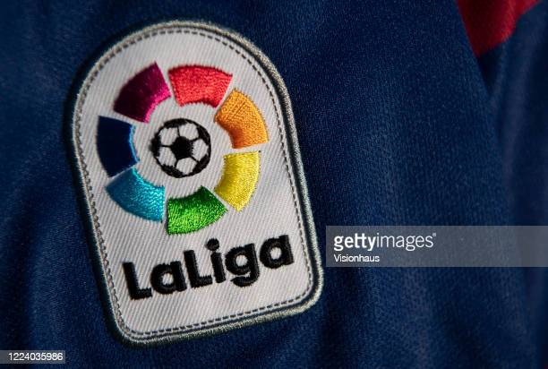 La Liga logo and branding on the Real Madrid home shirt for the 201920 season on May 6 2020 in Warwickshire UK