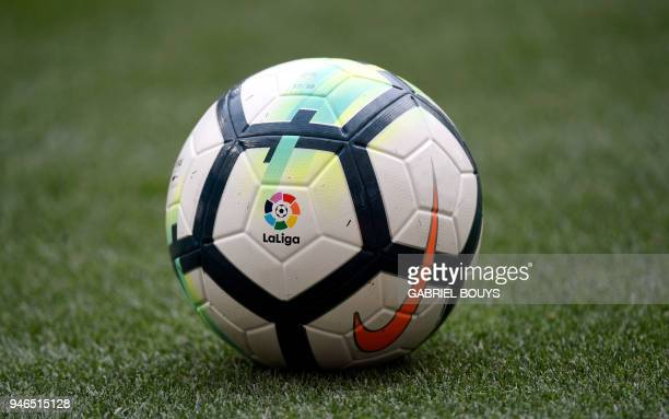 'La Liga' logo is seen on the ball of the Spanish league football match between Club Atletico de Madrid and Levante UD at the Wanda Metropolitano...