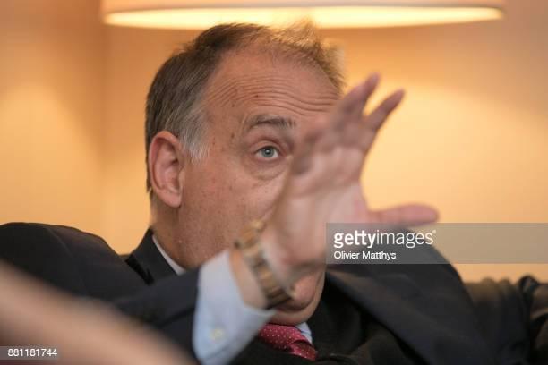 La Liga President Javier Tebas attends LaLiga offices inauguration at the Spanish embassy on November 28 2017 in Brussels Belgium