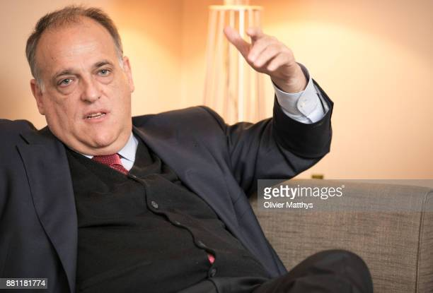 La Liga President Javier Tebas attends LaLiga offices inauguration at the Spanish embassy on November 28 2017 in Brussels Belgium