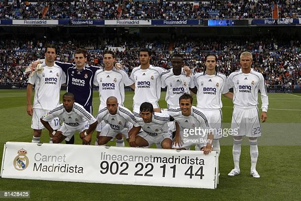 La Liga Soccer Portrait of Real Madrid FC Top Row Ruud van Nistelrooy goalie Iker Casillas Sergio Ramos Miguel Torres Gomez Mahamadou Diarra Fernando...