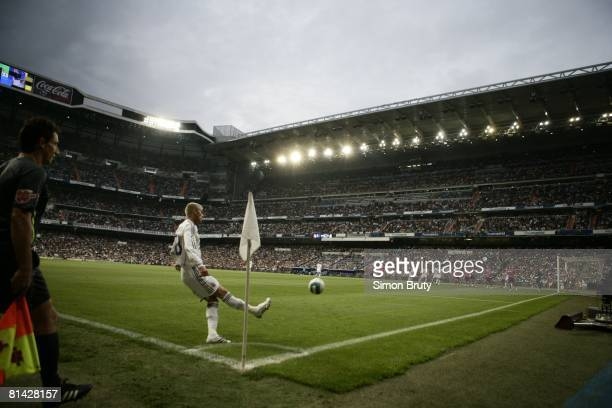 La Liga Soccer Real Madrid FC David Beckham in action taking corner kick vs Real Club Deportivo la Coruna View of Estadio Santiago Bernabeu stadium...