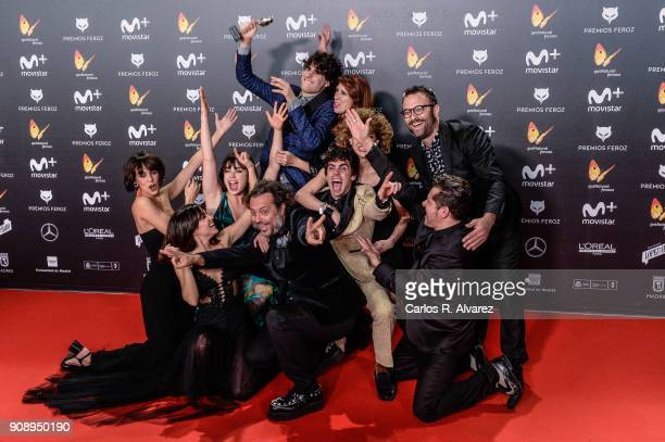 'La Llamada' film cast receives the Best Comedian film Award during Feroz Awards 2018 at Magarinos Complex on January 22 2018 in Madrid Spain