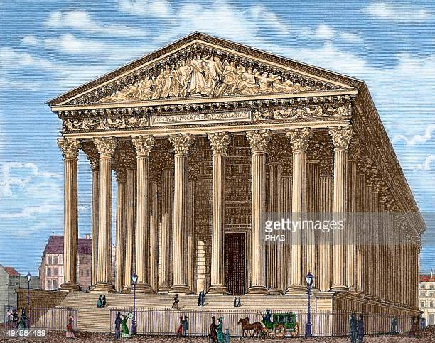 La Madeleine Built in 1806 it was designed as a temple to the glory of Napoleon's army Paris France Colored engraving