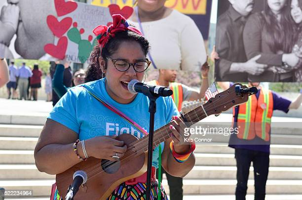 La Marisoul of LA SANTA CECILIA perform during the Fight For Families Rally in front of the Supreme Court of the United States on April 18 2016 in...
