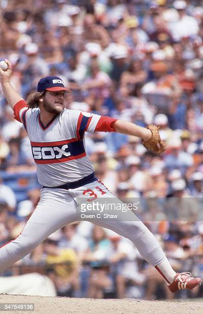 La Marr Hoyt of the Chicago White Sox circa 1983 pitches against the Baltimore Orioles at Memorial Stadium in Baltimore Maryland