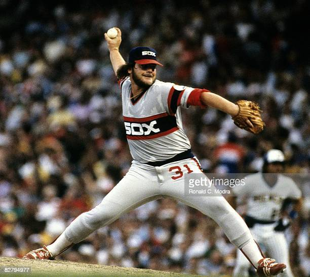 La Marr Hoyt of the Chicago White Sox pitches during a game against the Milwaukee Brewers on July 23 1983 in Milwaukee Wisconsin