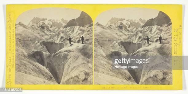 "La Mer De Glace, Chamounix, Savoie, 1850/96. [Mer de Glace glacier, Chamonix, Savoy]. Albumen print, stereocard, no. 38 from the series ""Views of..."