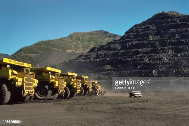 La mine de charbon d'Elkford, en Colombie-Britannique, en 1975, Canada.