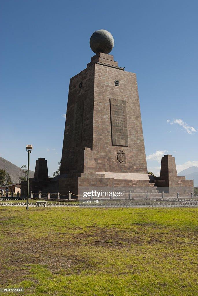 La Mitad del Mundo (Equator) marker : Stock Photo
