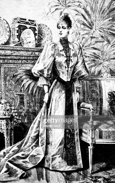 La mode en 1890, femme en toilette d'intérieur, France.