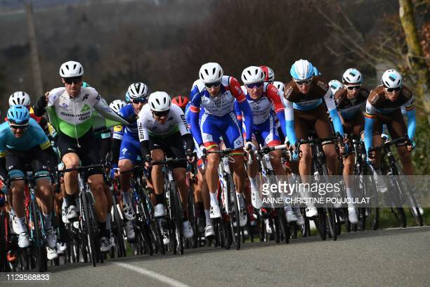 La Mondiale Groupama FDJ team Dimension Data and some other cycling teams' members ride during the 1385km 1st stage of the 77th ParisNice cycling...