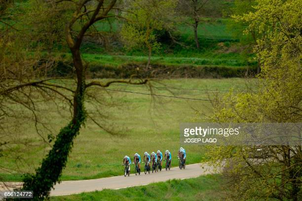 La Mondiale team ride during the Team Time Trial on day two of the 97th Volta Catalunya 2017, a 41,3 km ride starting and finishing in Banyoles on...