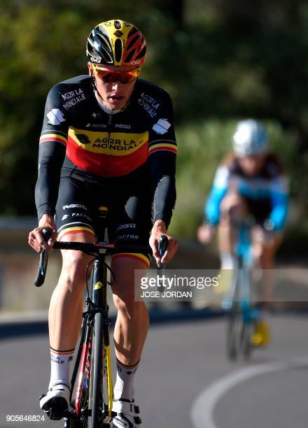 La Mondiale's Belgian cyclist Oliver Naesen rides during a training session in Castellon on January 16, 2018. / AFP PHOTO / JOSE JORDAN / The...