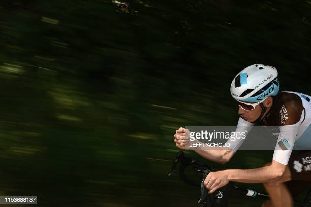 La Mondiale's French rider Romain Bardet takes part in a training session near Brussels on July 4 two days prior to the start of the 106th edition of...