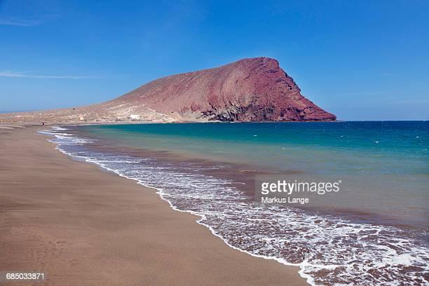 La Montana Roja Rock and Playa de la Tejita Beach, El Medano, Tenerife, Canary Islands, Spain