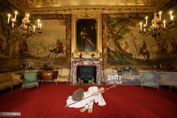 """La Nona Ora"""", a realistic model of Pope John Paul II being hit by a meteorite, created by artist Maurizio Cattelan, is seen at Blenheim Palace on..."""