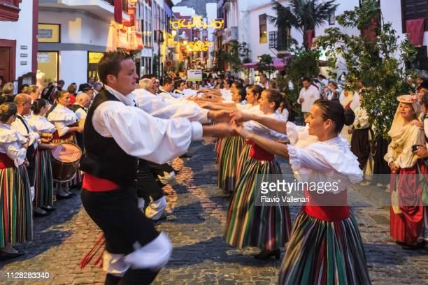 la palma, canary islands (e) - bajada de la virgen de las nieves, santa cruz de la palma - traditional dancing stock pictures, royalty-free photos & images