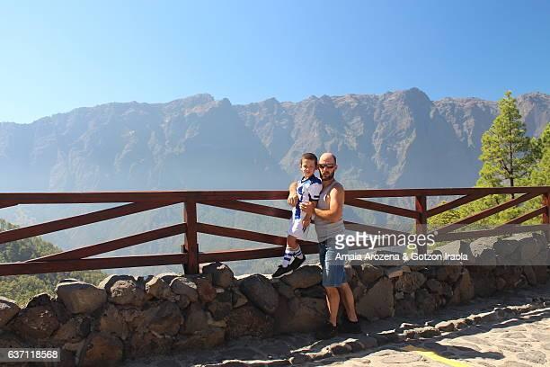 la palma island, canary islands-father and son in la cumbrecita summit of caldera de taburiente national park - son la stock pictures, royalty-free photos & images