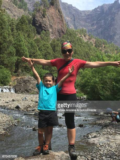 la palma island, canary islands-mother and son in caldera de taburiente national park - son la stock pictures, royalty-free photos & images
