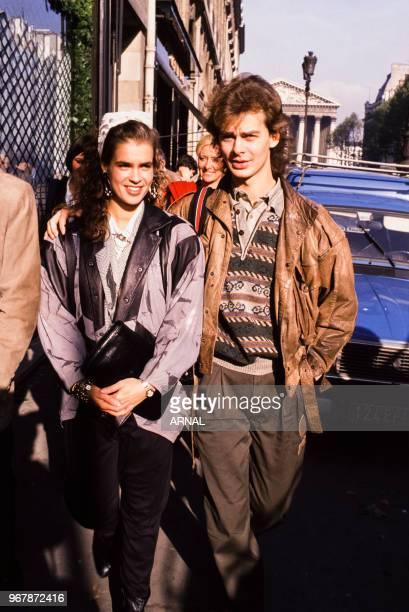 La patineuse sur glace Katarina Witt et Ingo Politz musicien et producteur le 14 novembre 1988 à Paris France