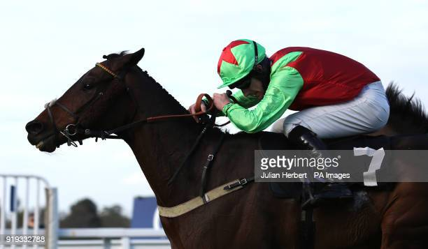 La Patriote and Brian Hughes pull away from the last flight before going on to win The Ascot Spring Garden Show Handicap Hurdle Race run during The...
