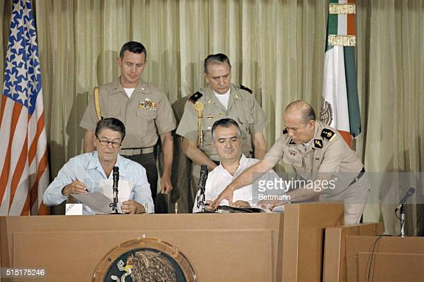 La Paz Baja California President Ronald Reagan and Mexican President Miguel De La Madrid sign a treaty for the environmental protection of border...