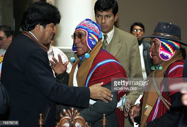 Bolivian President Evo Morales greets Aymara leaders after a ritual ceremony with Amautas 12 July 2007 at the Presidential Palace in La Paz The...