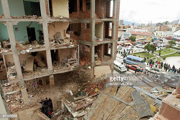 Picture of the damage caused by an explosion at the Risinho hotel in central La Paz Bolivia 22 March 2006 Blasts at two hotels in La Paz killed two...