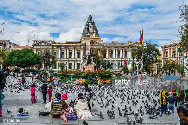 la paz, bolivia-plaza murillo - bolivia foto e immagini stock